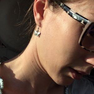 Vintage Jewelry - 925 Silver Light Green Shell Butterfly Earrings